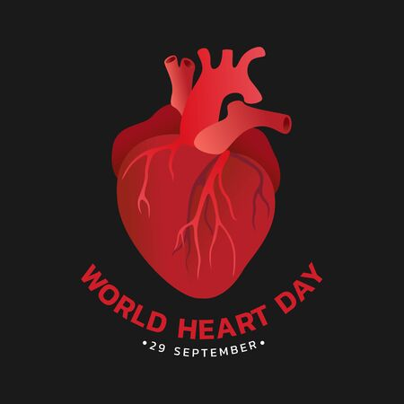 World heart day with red human heart sign on black background design