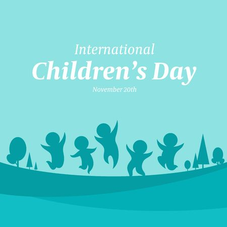 International Children day banner with green blue abstract group kids are funny on park sign design