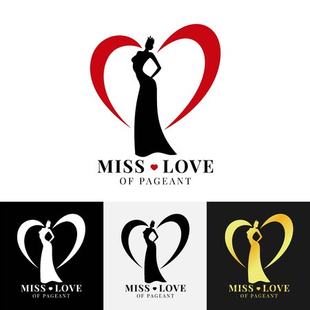 Miss love of pageant sign with woman wear crown and line heart around design