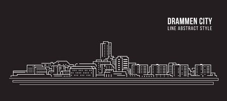 Cityscape building line art illustration design - Drammen city