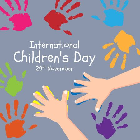 International Children day banner with childrens hand are create colorful handprint design