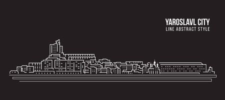 Cityscape Building Line art Vector Illustration design -  Yaroslavl city