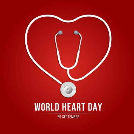 World heart day banner with Stethoscope Roll into heart sign on red background vector design