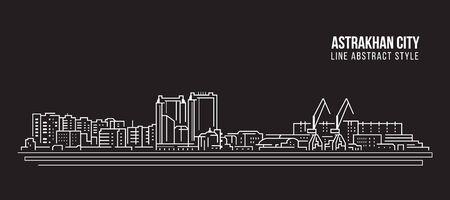 Cityscape Building Line art Vector Illustration design - Astrakhan city