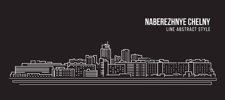 Cityscape Building Line art Vector Illustration design - Naberezhnye Chelny city