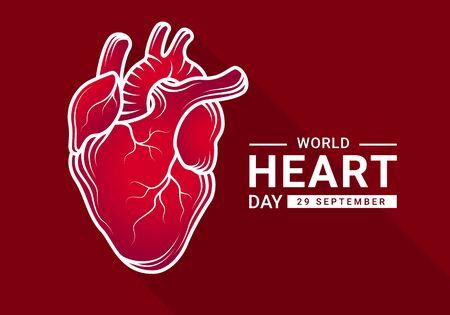 Giornata mondiale del cuore con cuore umano rosso sfumato Contorno reale e bianco Segno di disegno su sfondo rosso scuro disegno vettoriale Vettoriali