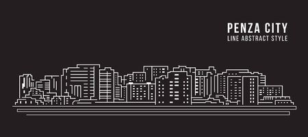 Cityscape Building Line art Vector Illustration design - Penza city
