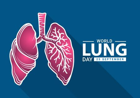 World heart day with white pink human lung outline Drawing sign on blue background vector design