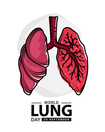 World heart day with red human lung  outline Drawing sign on white background vector design Banco de Imagens - 131992281