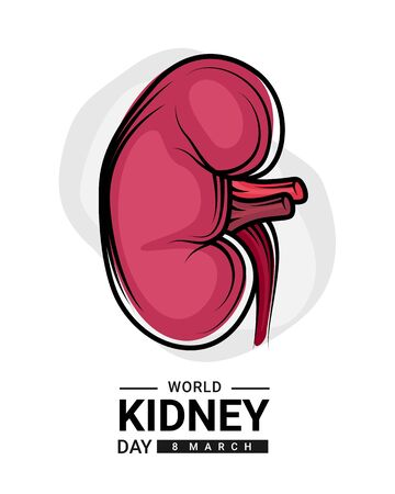 world kidney day with red human kidney outline Drawing sign vector design Banco de Imagens - 131991347