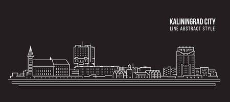Cityscape Building Line art Vector Illustration design  - Kaliningrad city