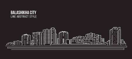 Stadsgezicht Building Line art - Balashikha city
