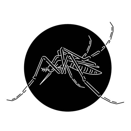 abstract white line mosquito in black circle vector design