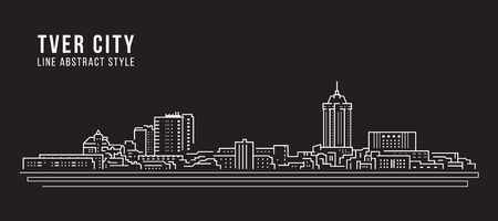 Cityscape Building Line art Vector Illustration design - Tver city
