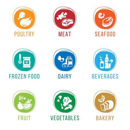 Grocery store - Food department icon sign vector set design Ilustração