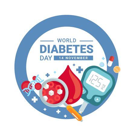 Banner del día mundial de la diabetes con lupa de azúcar en sangre, ADN, medicamento, medidor de glucosa en diseño de vector de anillo de círculo azul Ilustración de vector