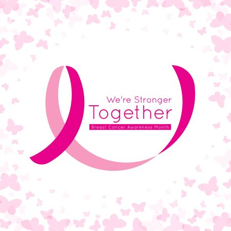 breast cancer awareness month banner with easy pink ribbon circle sign and we are stronger together text on abstract butterfly background vector design