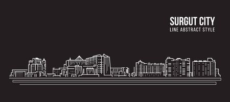 Cityscape Building Line art Vector Illustration design - surgut city