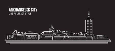 Cityscape Building Line art Vector Illustration design - Arkhangelsk city Stock Illustratie