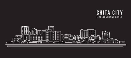 Cityscape Building Line art Vector Illustration design - Chita city Banco de Imagens - 131991806