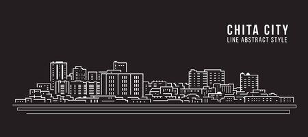 Stadsgezicht Building Line art Vector Illustratie ontwerp - Chita city