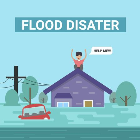 Flood disaster concept with human on roof home are say help me and car are flood vector design Foto de archivo - 133684327