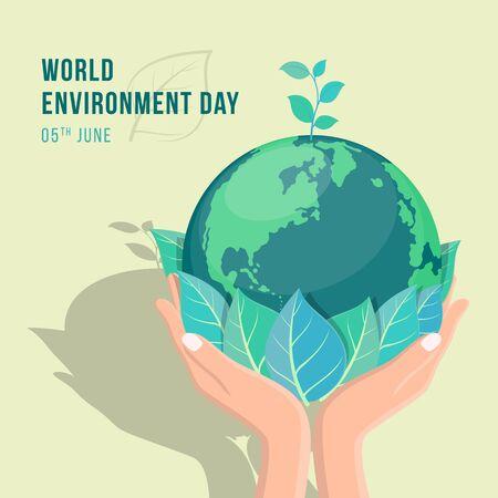 striscione per la giornata mondiale dell'ambiente con foglie e semi di piante da tenere in mano sul disegno vettoriale mondiale della terra del cerchio Vettoriali