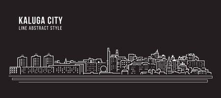Cityscape Building Line art Vector Illustration design - Kaluga city