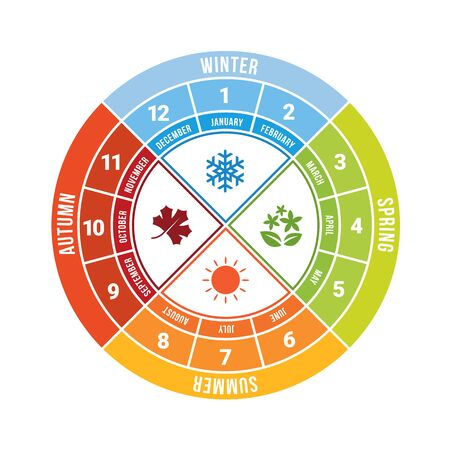 4 season circle diagram chart with icon sign and month time vector design Ilustrace