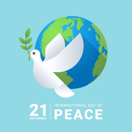 international peace day white dove with leaf and earth world on soft blue background