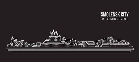 Cityscape Building Line art Vector Illustration design - Smolensk city