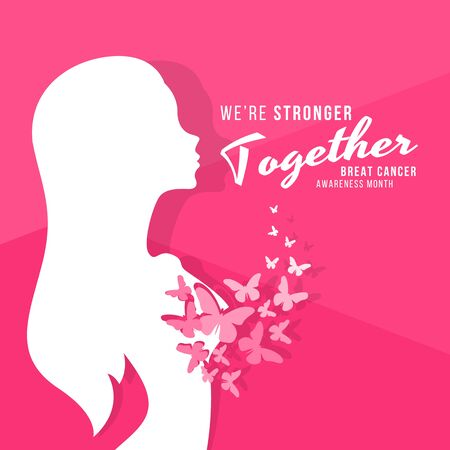 Breast cancer awareness month banner with abstract butterfly fly out of the breast and we are stronger together text vector design Stock Illustratie