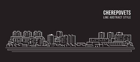 Cityscape Building Line art Vector Illustration design - Cherepovets city Ilustração