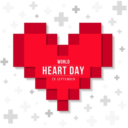 world heart day banner with red heart pixil sign on abstract cross sign background vector design