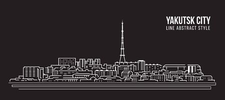Cityscape Building Line art Vector Illustration design - Yakutsk city