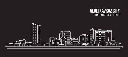 Cityscape Building Line art Vector Illustration design - Vladikavkaz city Stock Illustratie