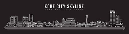 Cityscape Building panorama Line art Vector Illustration design - Kobe city
