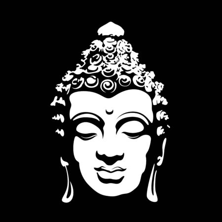 signe de bouddha de tête blanche d'art abstrait sur la conception de vecteur de fond noir Vecteurs