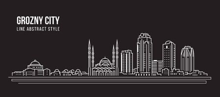 Cityscape Building panorama Line art Vector Illustration design - Grozny city