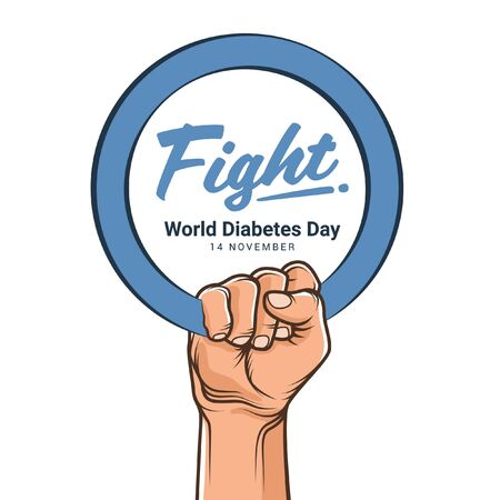 world diabetes day with hand hold blue circle ring and fight text vector design Ilustração