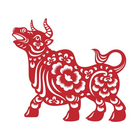 Red paper cut chinese Ox cow zodiac vector design