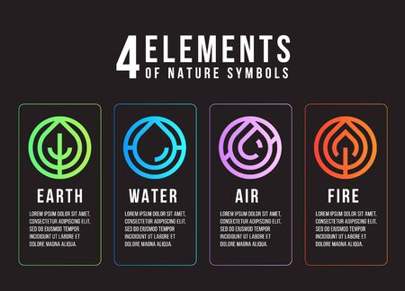 4 elements of nature symbols  abstract line border circle style with earth , fire , air and water vector design