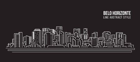 Paysage urbain Bâtiment panorama Ligne art Vector Illustration design - Belo horizonte ville