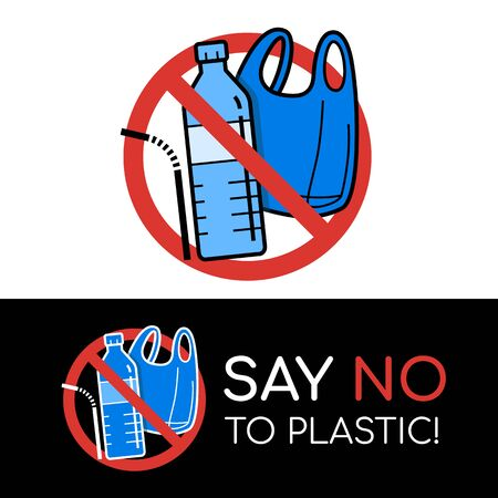 say no to plastic sign and banner with plastic bag, Bottle ,Straw in stop circle vector design Ilustração