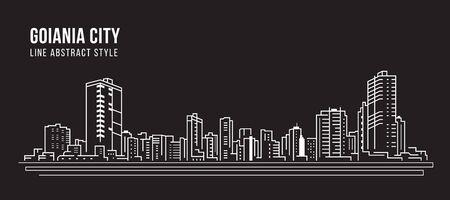 Cityscape Building panorama Line art Vector Illustration design - Goiania city Фото со стока - 131306877