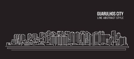 Cityscape Building panorama Line art Vector Illustration design - Guarulhos city Illusztráció