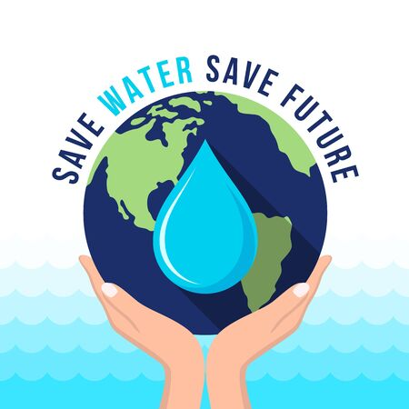 save water save future text and hand hold dropwater in earth world vector design