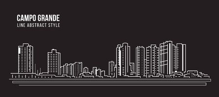 Cityscape Building panorama Line art Vector Illustration design - Campo Grande city
