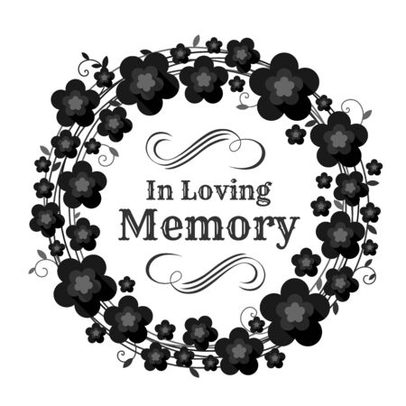 In loving memory text in circle Vine wreath and black flowers frame