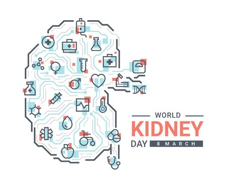 world kidney day with medical icon on abstract line circuit board create to kidney sign vector design